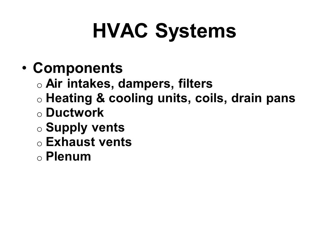 HVAC Systems Components Air intakes, dampers, filters