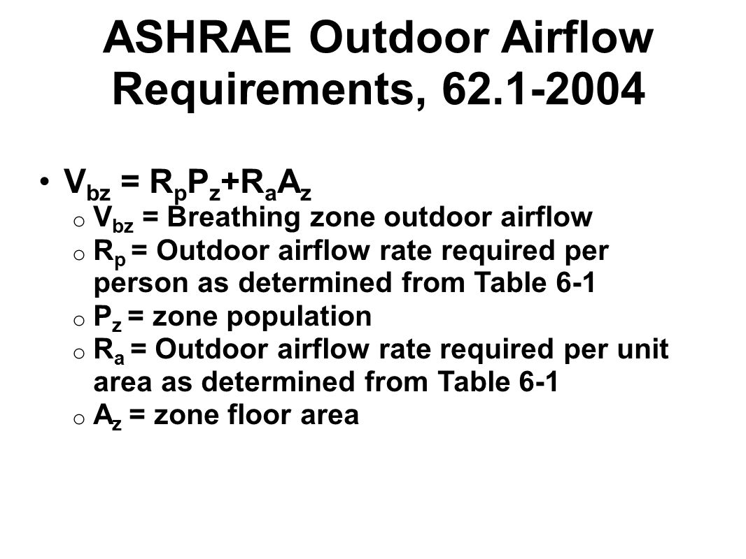 ASHRAE Outdoor Airflow Requirements, 62.1-2004