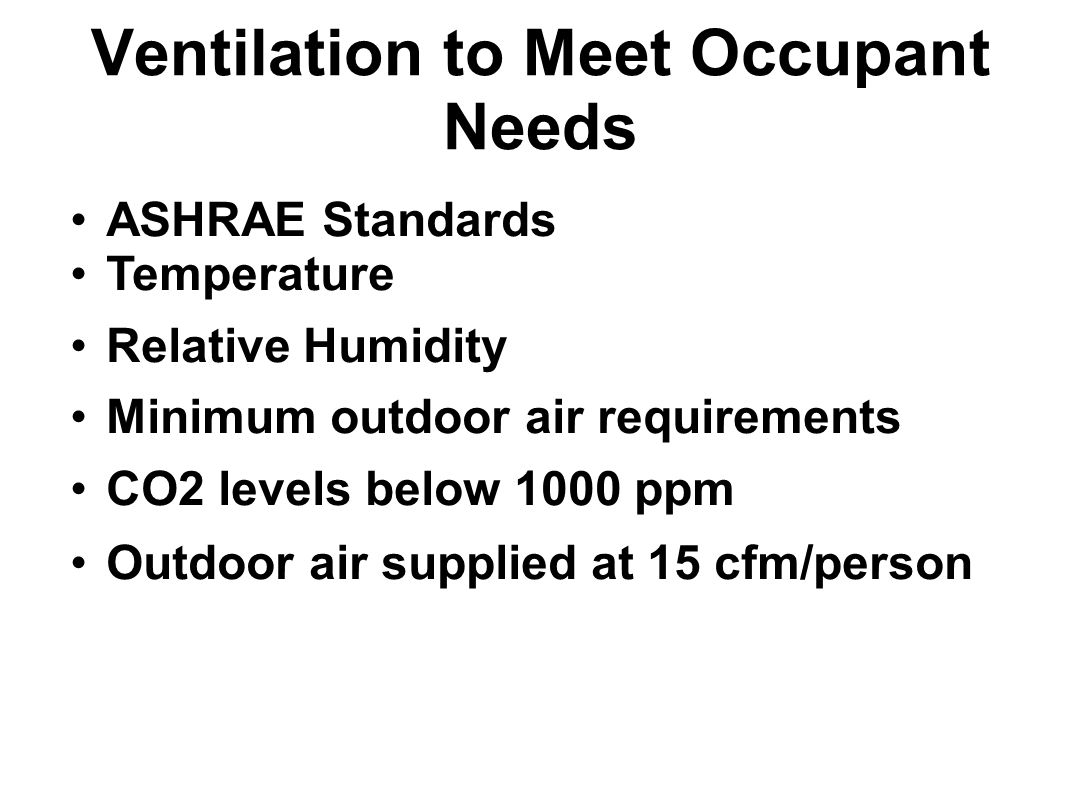 Ventilation to Meet Occupant Needs