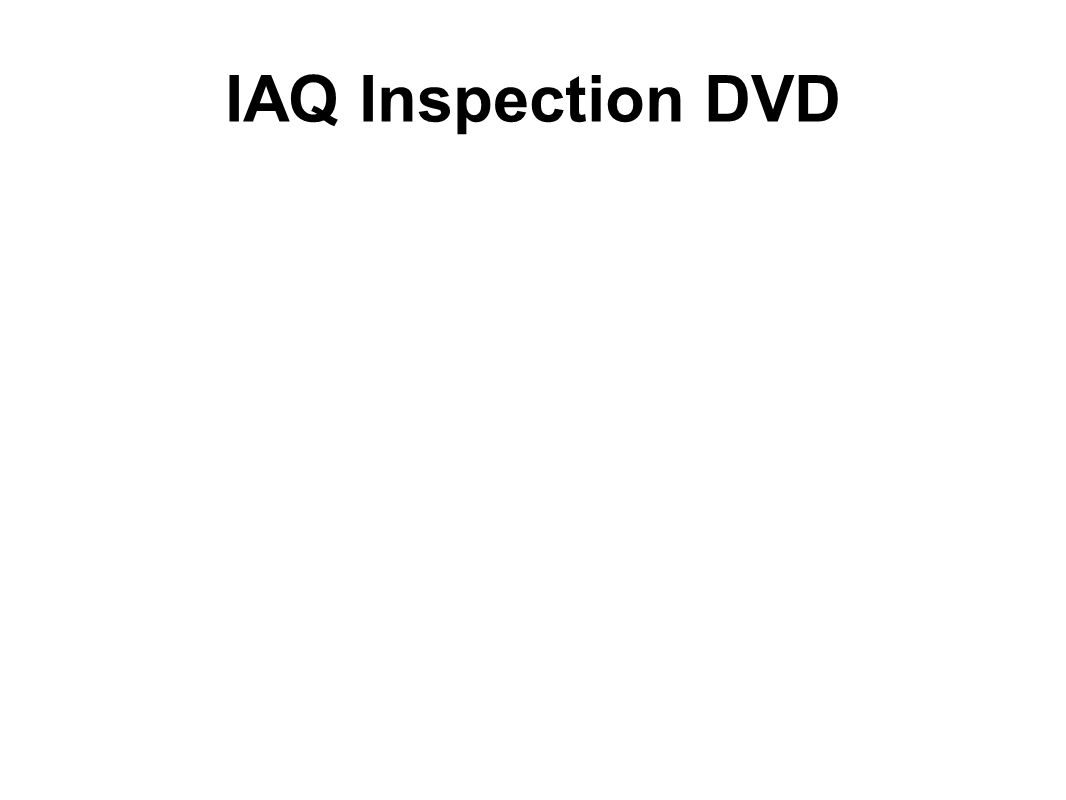 IAQ Inspection DVD