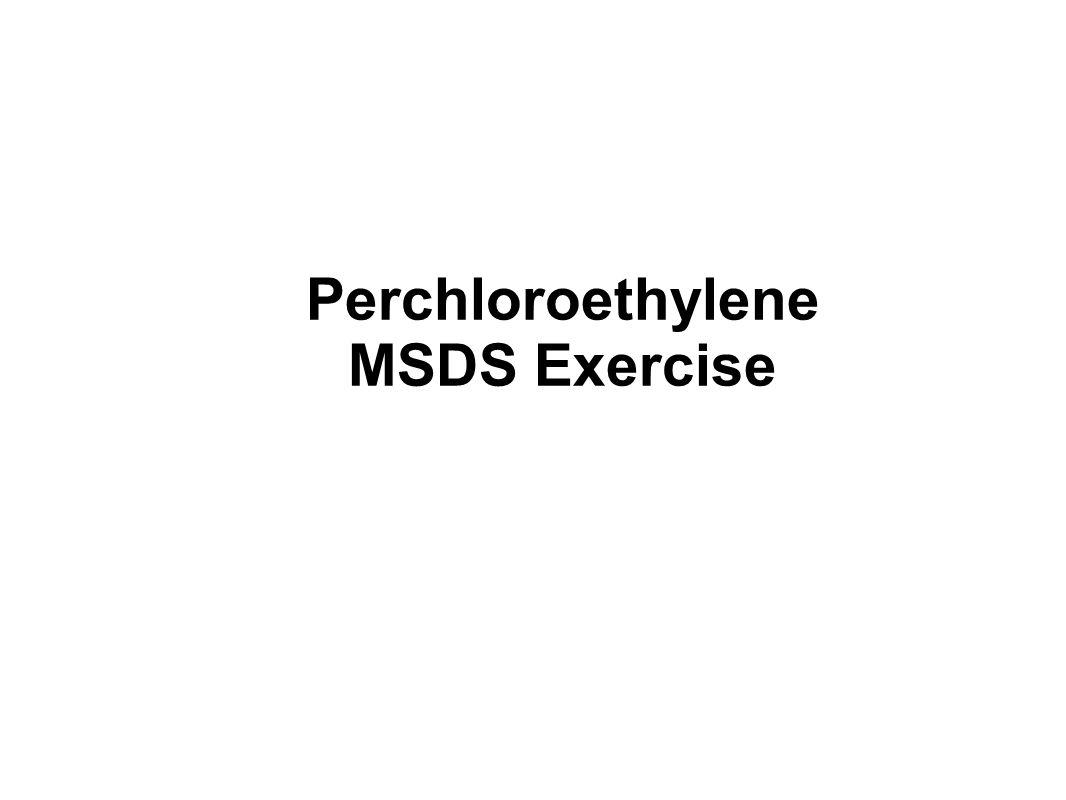 Perchloroethylene MSDS Exercise