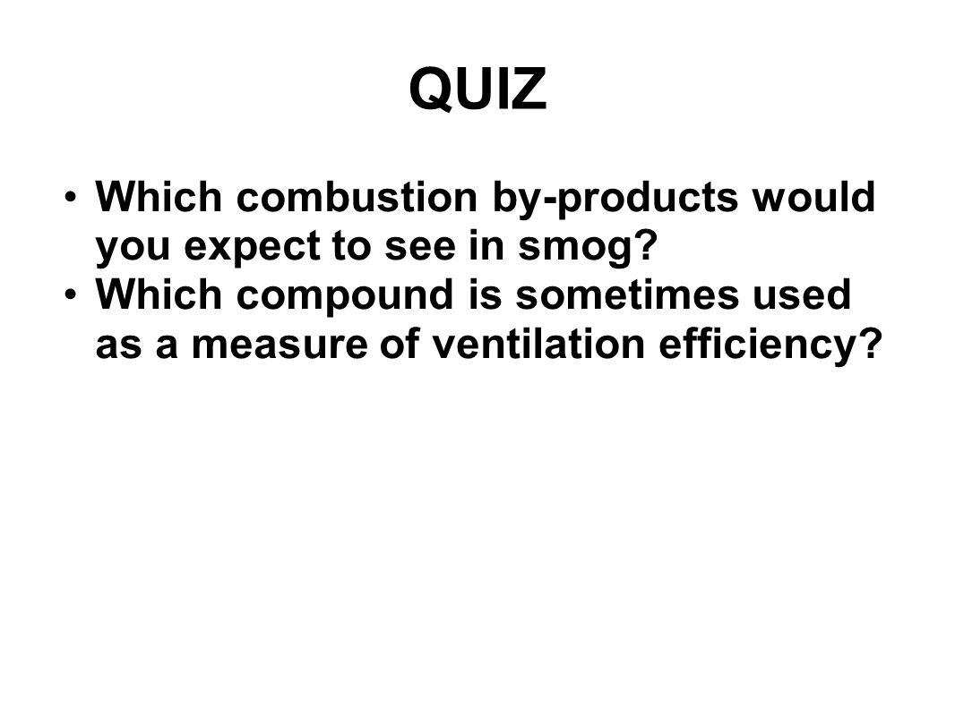QUIZ Which combustion by-products would you expect to see in smog