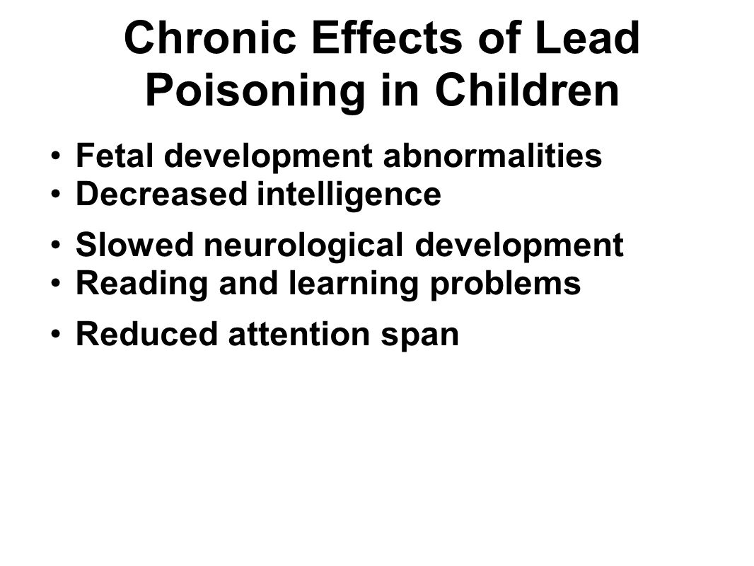 Chronic Effects of Lead Poisoning in Children