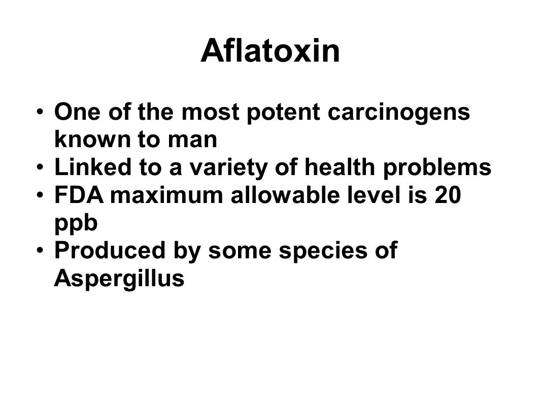 Aflatoxin One of the most potent carcinogens known to man