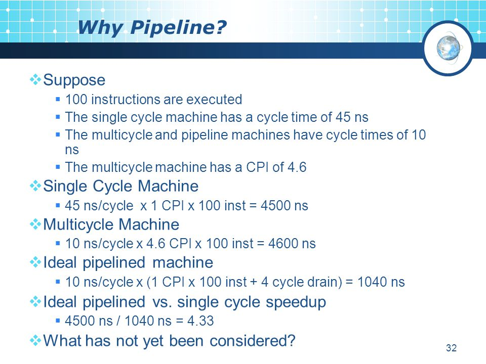 Why Pipeline Suppose Single Cycle Machine Multicycle Machine