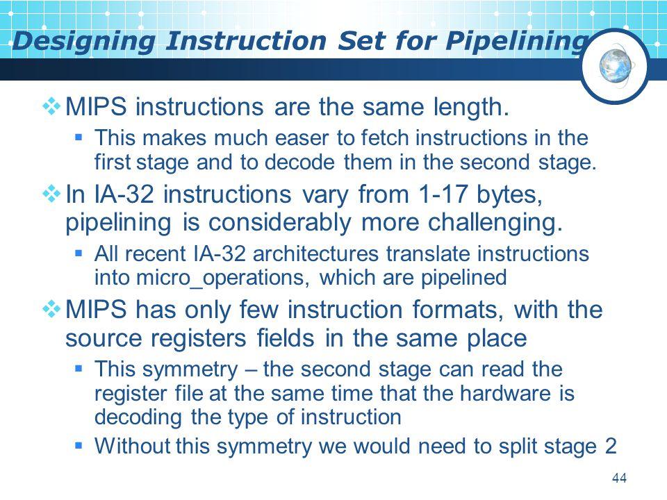 Designing Instruction Set for Pipelining