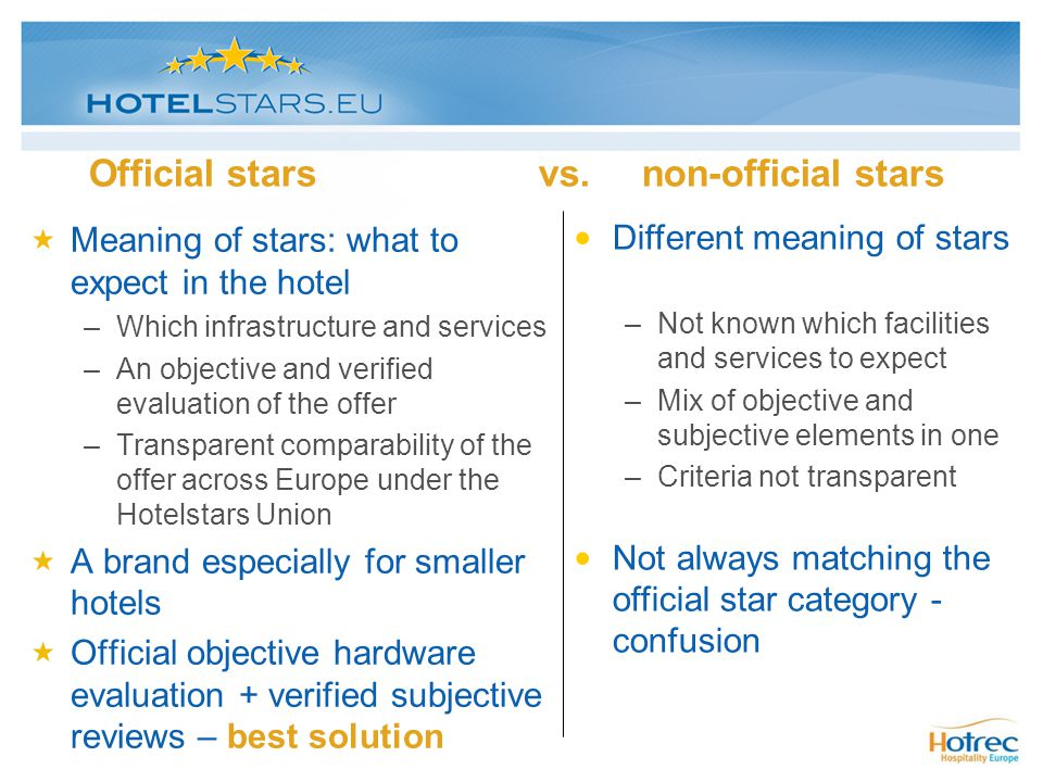 Official stars vs. non-official stars