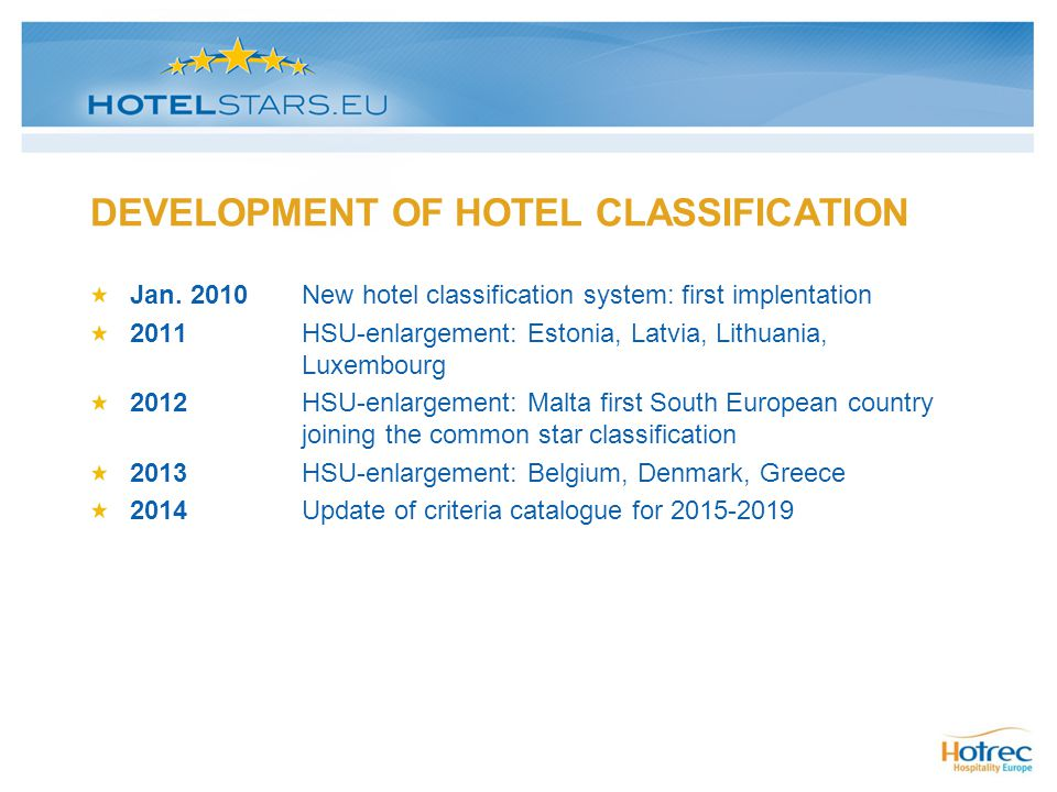 DEVELOPMENT OF HOTEL CLASSIFICATION