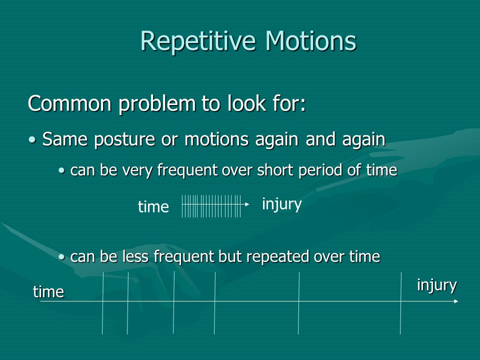 Repetitive Motions Common problem to look for:
