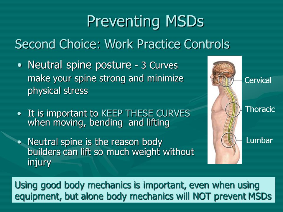 Preventing MSDs Second Choice: Work Practice Controls