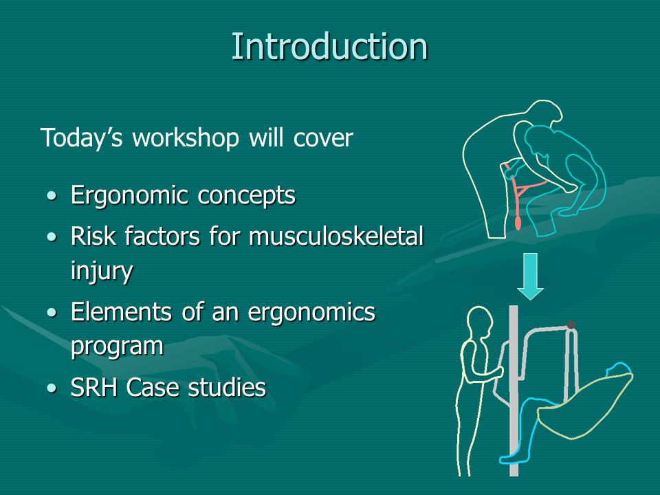 Introduction Today's workshop will cover Ergonomic concepts