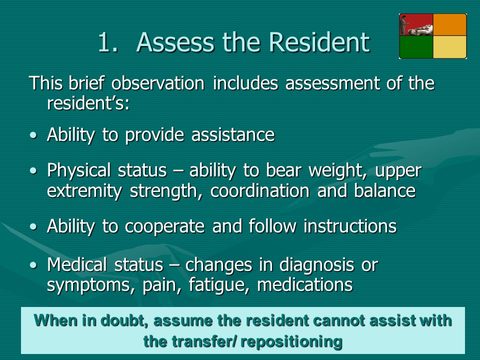 Assess the Resident This brief observation includes assessment of the resident's: Ability to provide assistance.