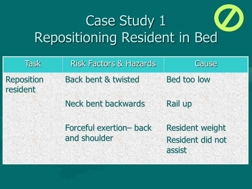 Case Study 1 Repositioning Resident in Bed