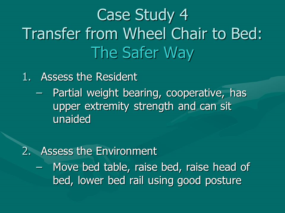 Case Study 4 Transfer from Wheel Chair to Bed: The Safer Way