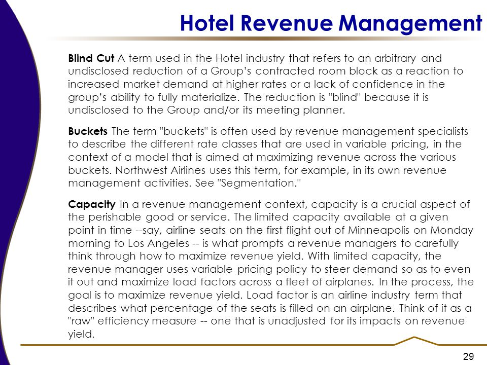 revenue management in hotel industry essay And what is the importance of revenue management in hotels the industry has a changed a lot and recognizes the importance of revenue management.