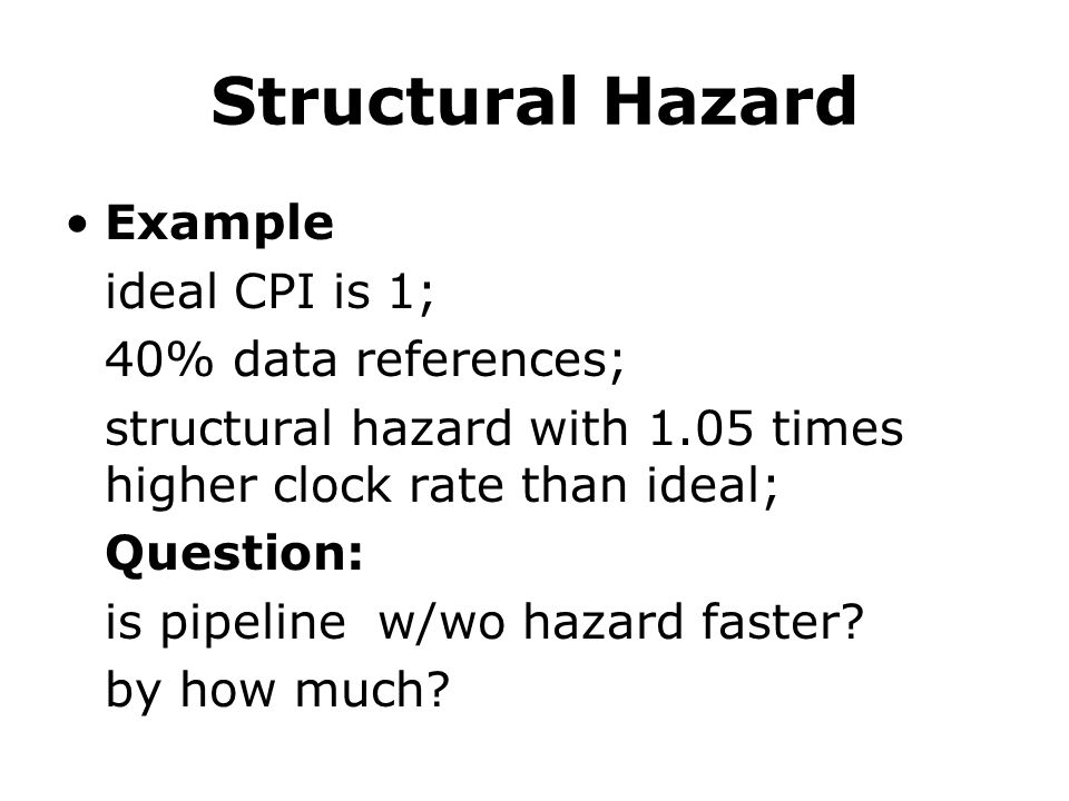 Structural Hazard Example ideal CPI is 1; 40% data references;