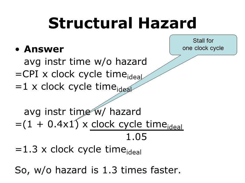 Structural Hazard Answer avg instr time w/o hazard