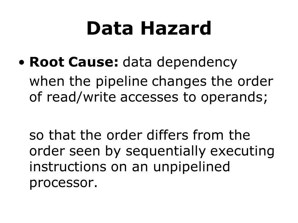 Data Hazard Root Cause: data dependency