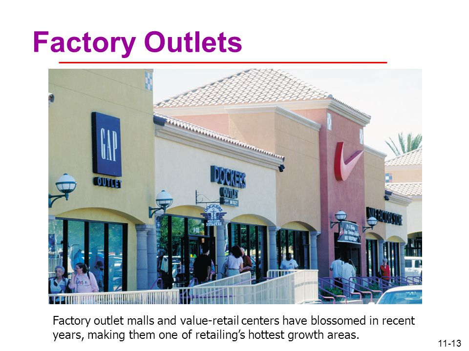 Factory Outlets Factory outlet malls and value-retail centers have blossomed in recent years, making them one of retailing's hottest growth areas.