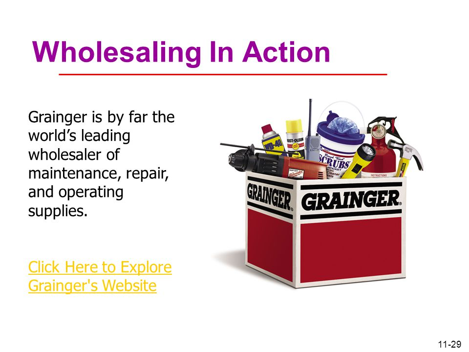Wholesaling In Action Grainger is by far the world's leading wholesaler of maintenance, repair, and operating supplies.