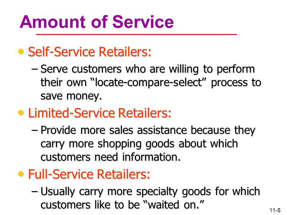 Amount of Service Self-Service Retailers: Limited-Service Retailers: