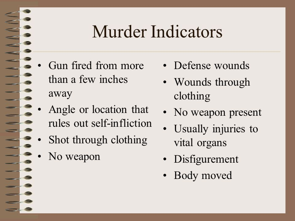 Murder Indicators Gun fired from more than a few inches away