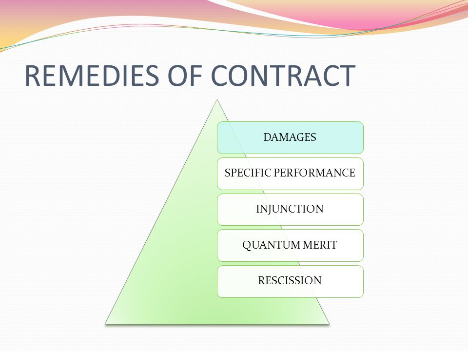 REMEDIES OF CONTRACT DAMAGES SPECIFIC PERFORMANCE INJUNCTION