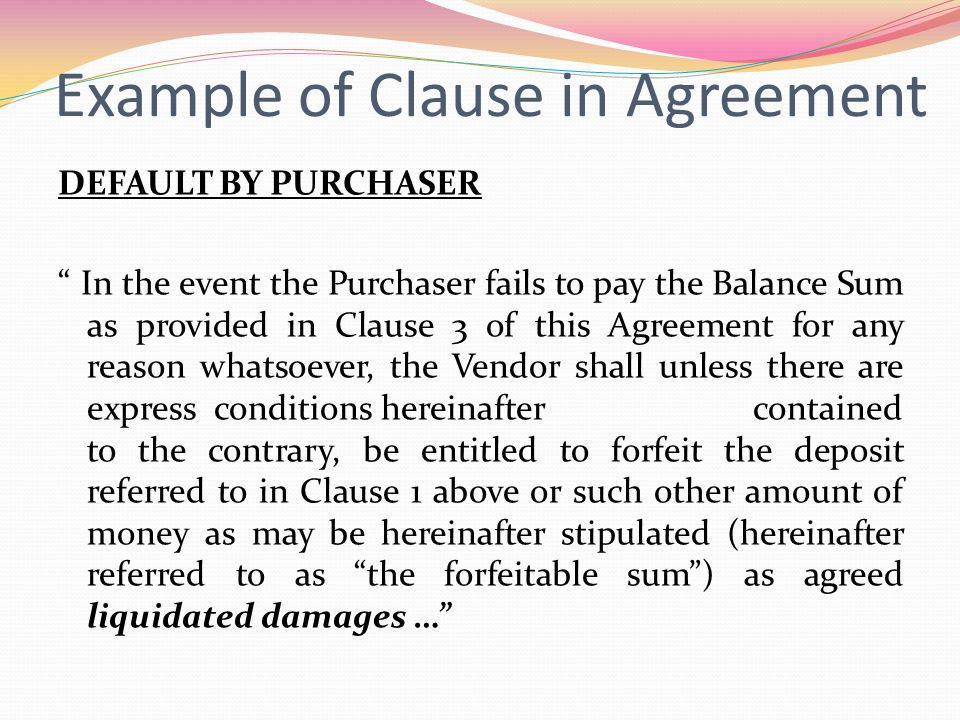 Example of Clause in Agreement