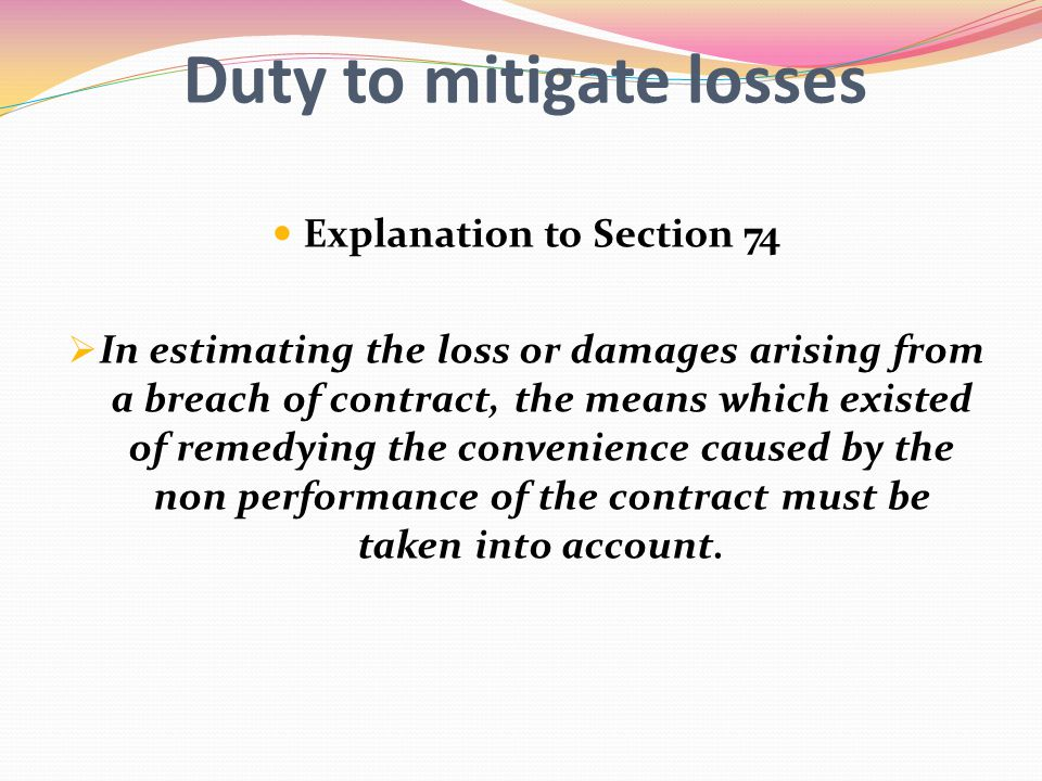 Duty to mitigate losses