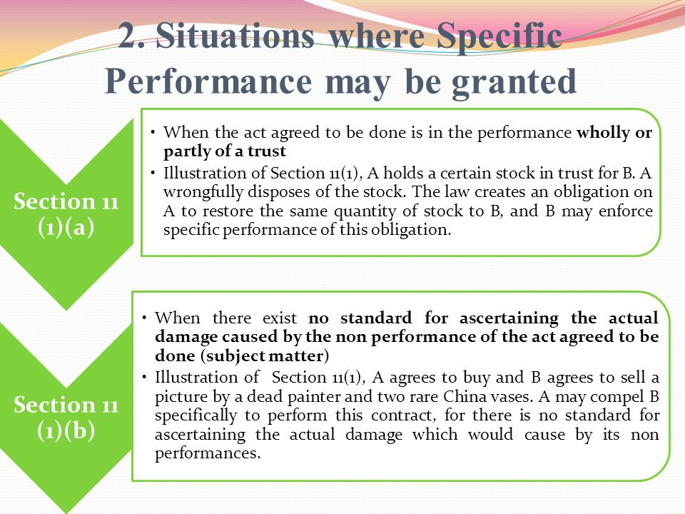 2. Situations where Specific Performance may be granted