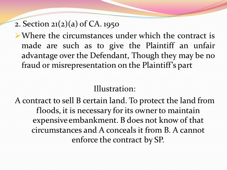 2. Section 21(2)(a) of CA. 1950