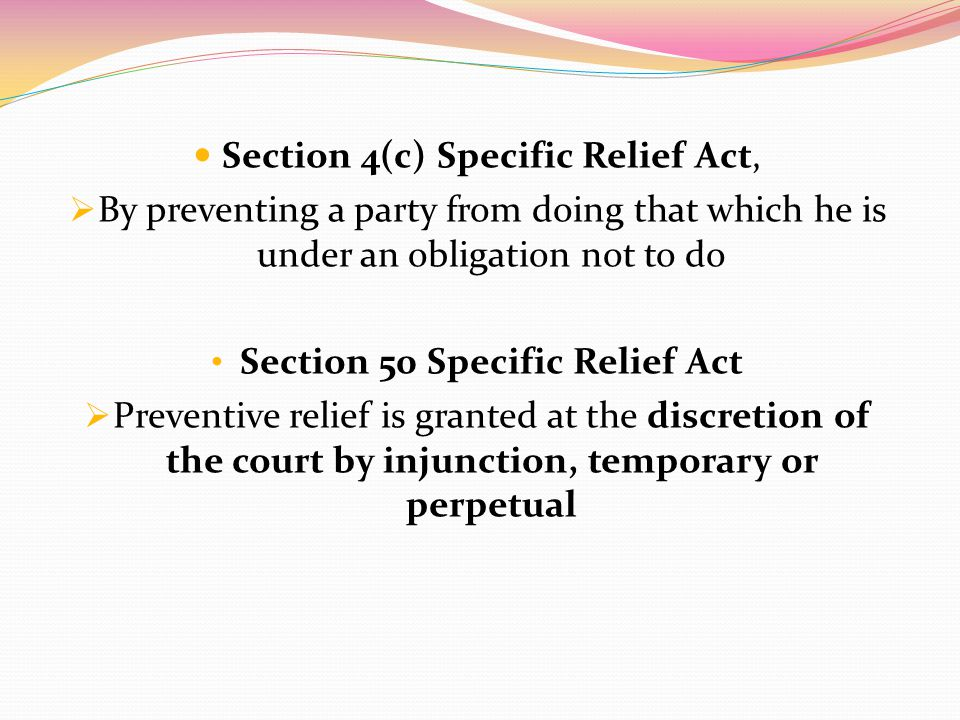 Section 50 Specific Relief Act