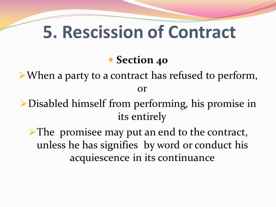 5. Rescission of Contract