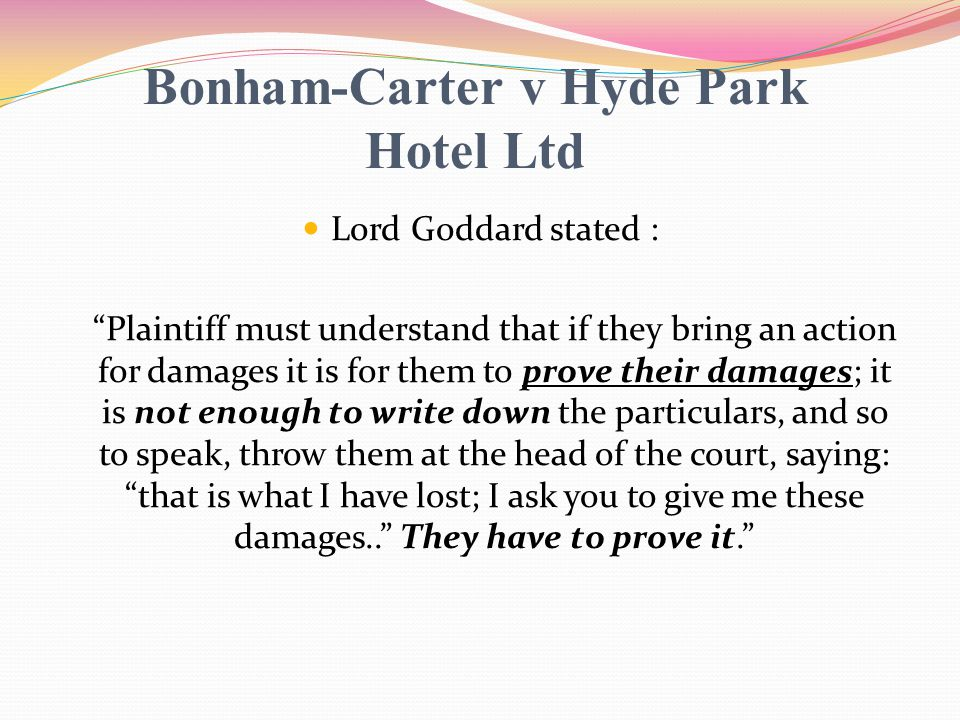 Bonham-Carter v Hyde Park Hotel Ltd