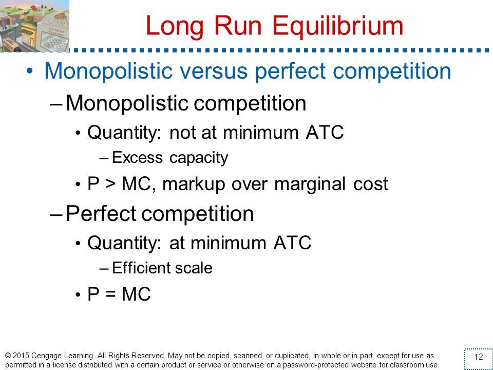 Long Run Equilibrium Monopolistic versus perfect competition
