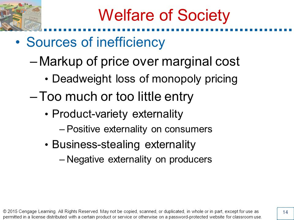 Welfare of Society Sources of inefficiency