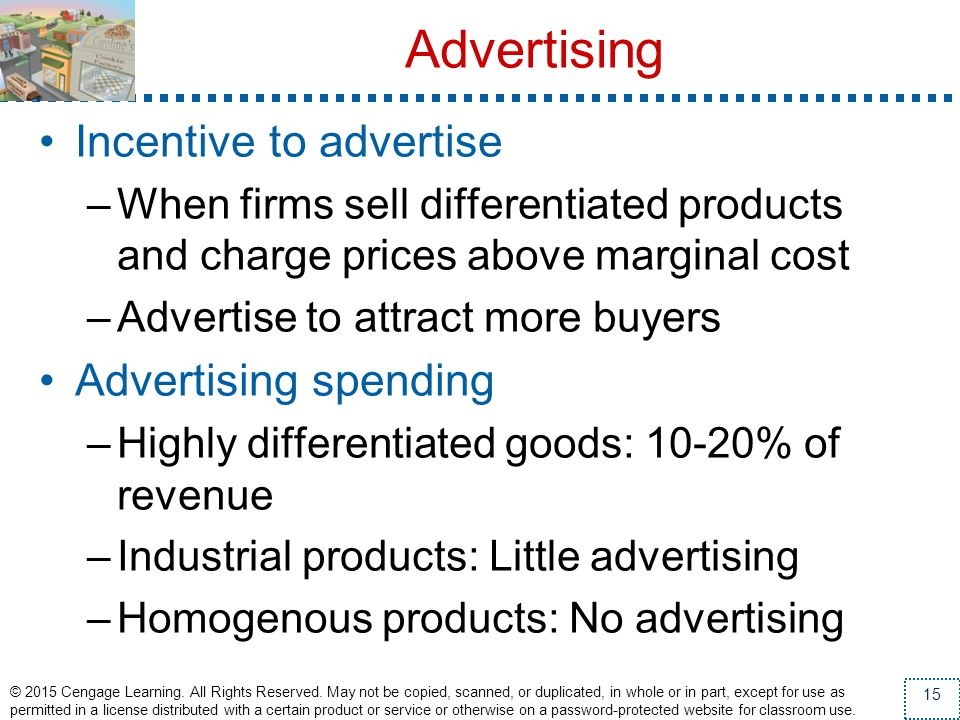 Advertising Incentive to advertise Advertising spending