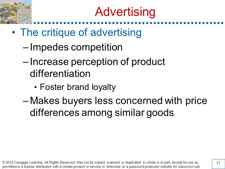 Advertising The critique of advertising Impedes competition