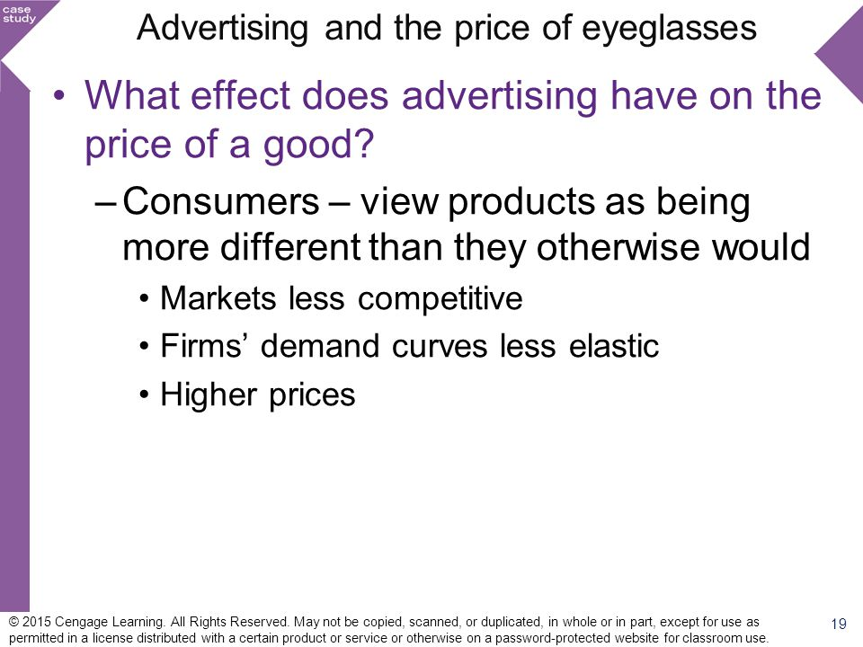 Advertising and the price of eyeglasses