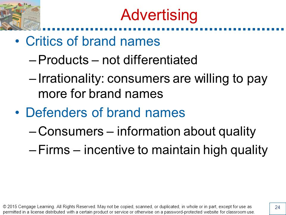 Advertising Critics of brand names Defenders of brand names