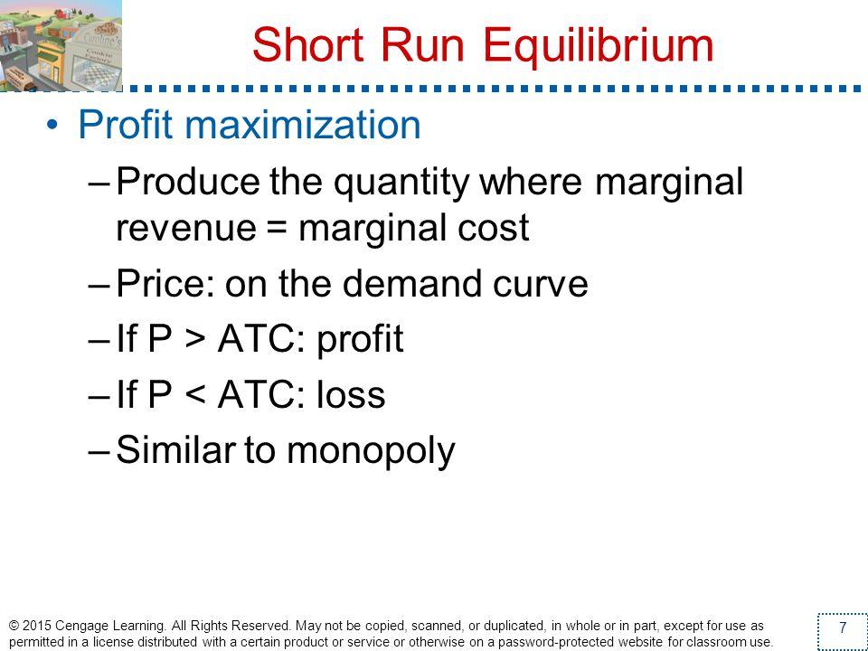 Short Run Equilibrium Profit maximization
