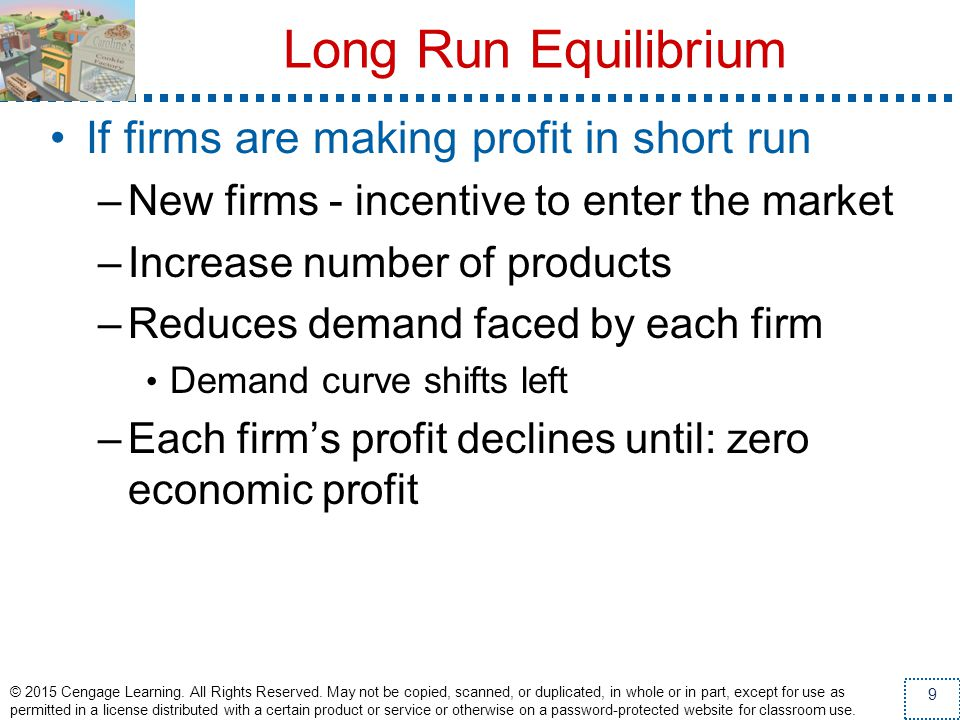 Long Run Equilibrium If firms are making profit in short run