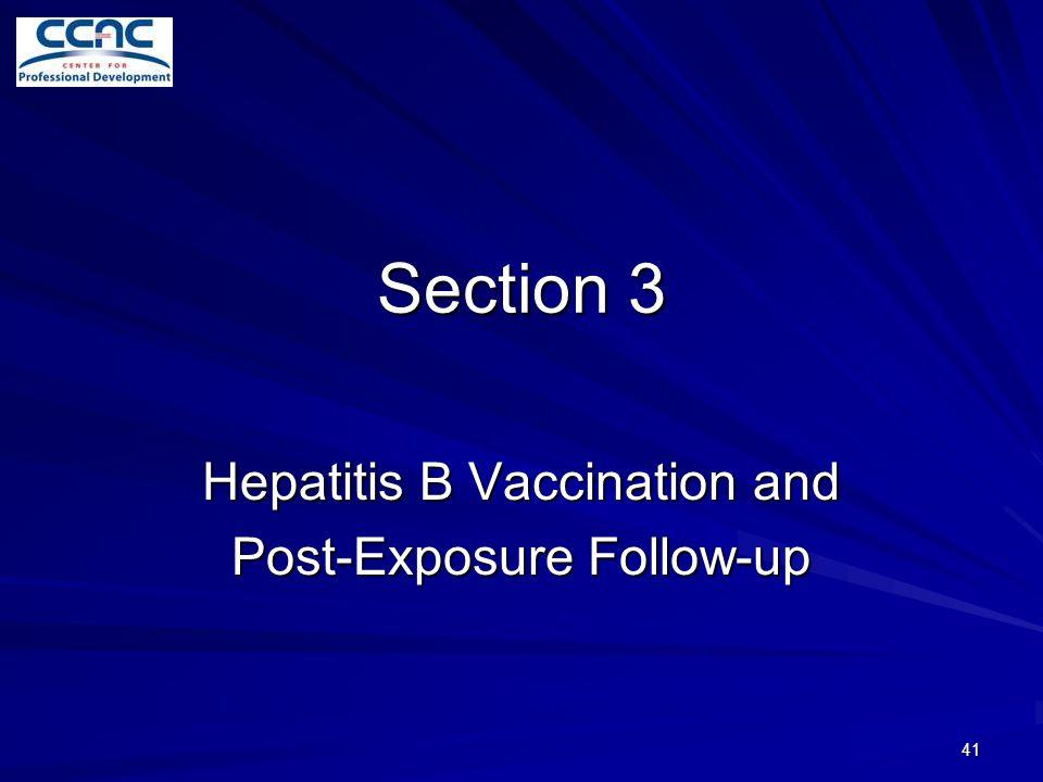 Hepatitis B Vaccination and Post-Exposure Follow-up