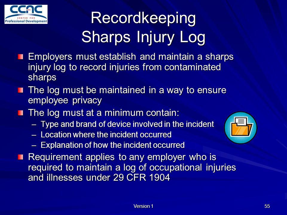 Recordkeeping Sharps Injury Log