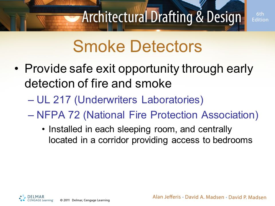 Smoke Detectors Provide safe exit opportunity through early detection of fire and smoke. UL 217 (Underwriters Laboratories)