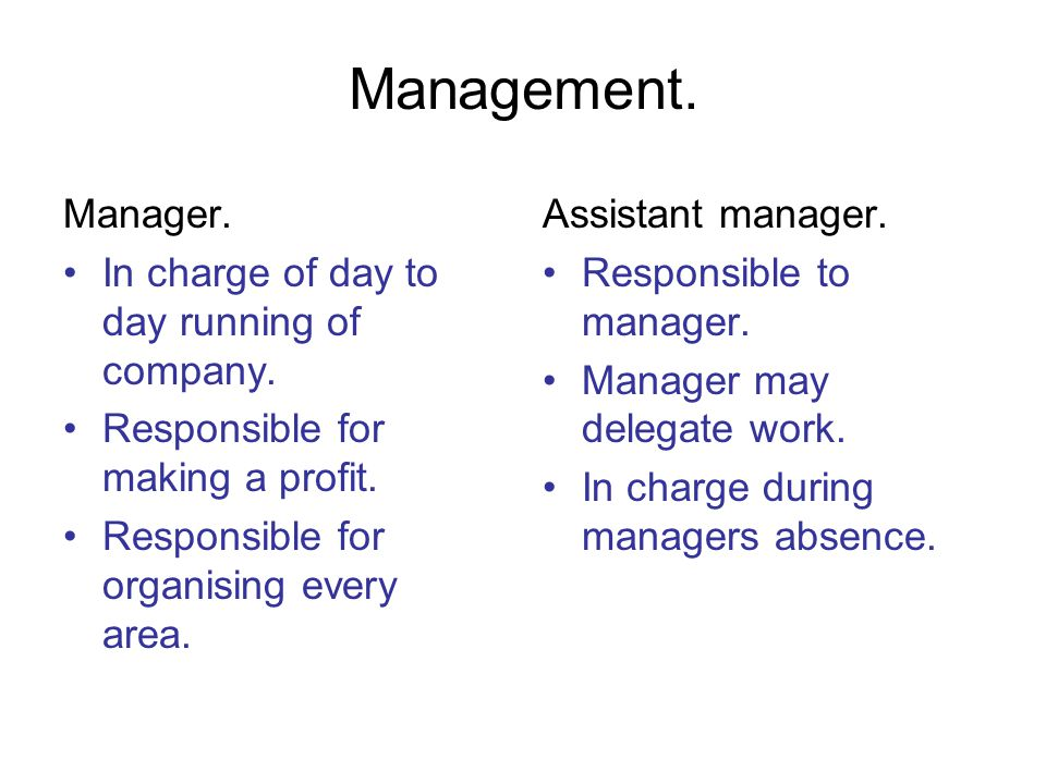Management. Manager. In charge of day to day running of company.