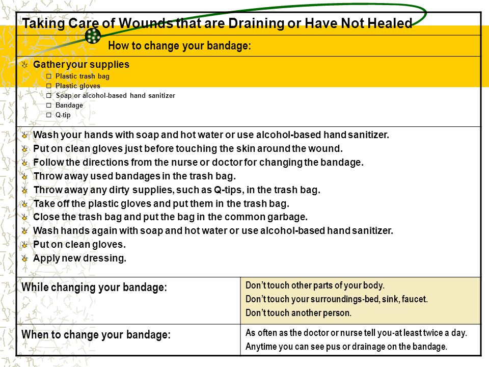 Taking Care of Wounds that are Draining or Have Not Healed