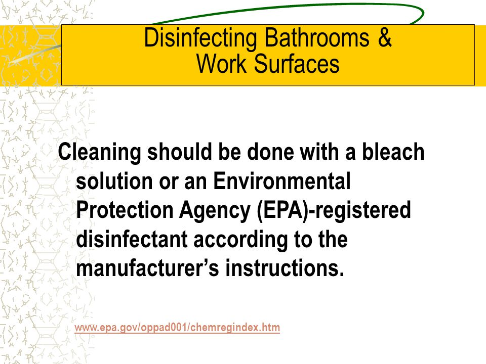 Disinfecting Bathrooms & Work Surfaces