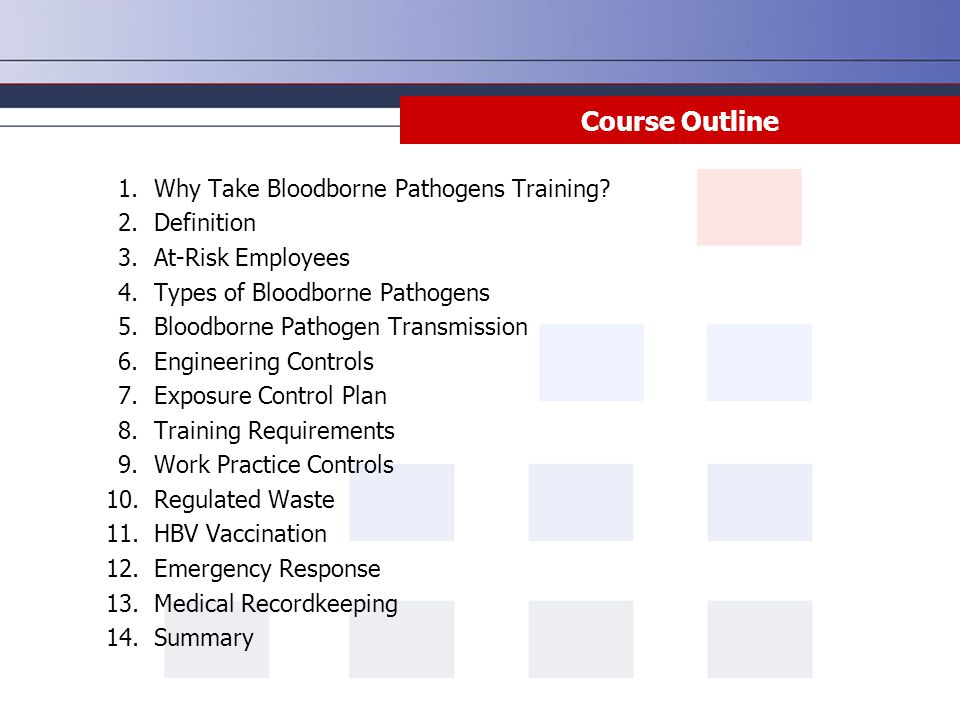 Course Outline Why Take Bloodborne Pathogens Training Definition