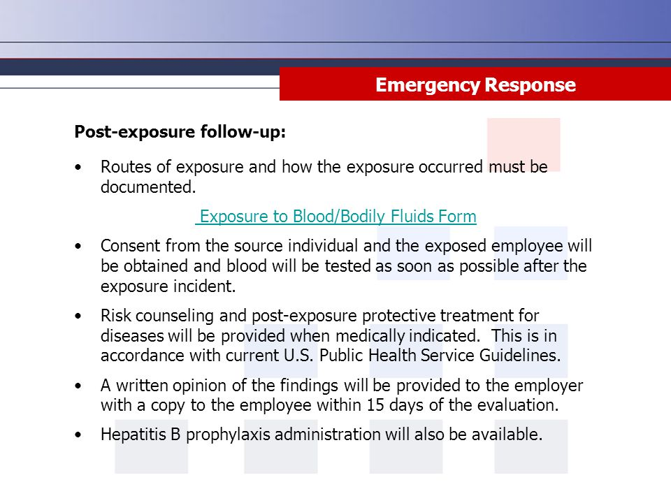 Exposure to Blood/Bodily Fluids Form